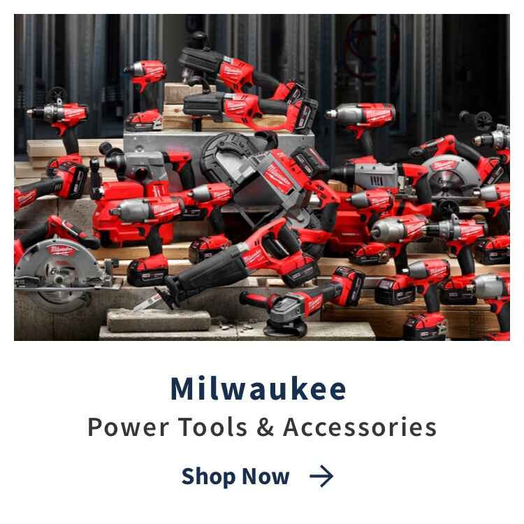 Milwaukee Power Tools and Equipment with Shop Now link and power tools