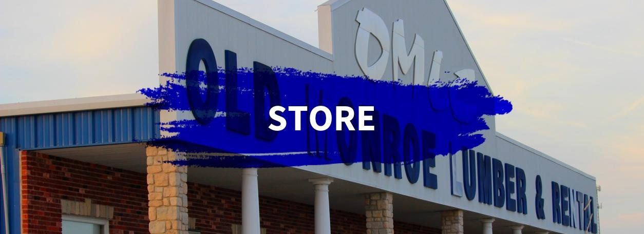 Store word with dark blue paint stroke on black and white storefront image