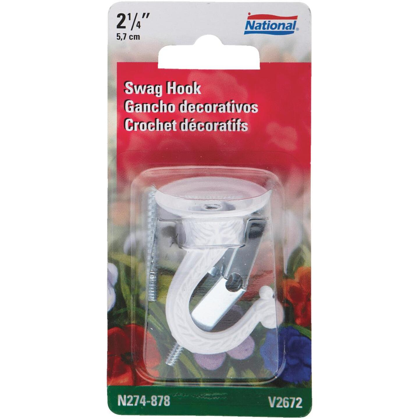 National 2-1/4 In. White Die Cast Swag Hook Image 2